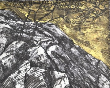"Advancing Flood, intaglio, linocut, chine collé, 8"" x 10"", 2013"