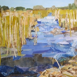"Cape Henlopen, print collage, gouache, 30"" x 44"", 2014"