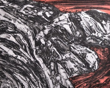 "Receding Flood, intaglio, chine collé, 8"" x 10"", 2013"