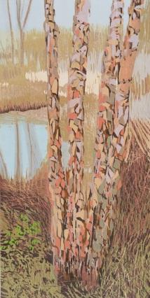 """Arboretum Exotica #4, reduction woodcut, 21.5"""" x 12"""", 2016"""