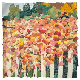 """Autumn Fence, print collage, gouache, 34"""" x 34"""", 2016"""