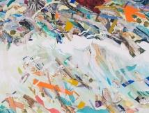 "Swept Away, print collage, gouache, 30"" x 38"", 2013"