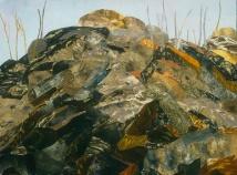 """Coal Hill, print collage, gouache, 22"""" x 30"""", 2009"""
