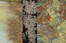 "Darby Creek #2, reduction linocut, collograph, chine collé, 24"" x 36"", 2011"
