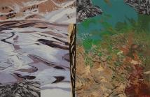 "Darby Creek #3, reduction linocut, intaglio, chine collé, 24"" x 36"", 2011"
