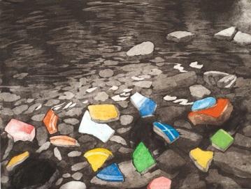 "Darby Creek: Past Presence 6, intaglio, 12"" x 16"", 2014"