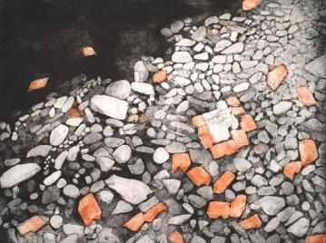 "Darby Creek: Past Presence 2, intaglio, 12"" x 16"", 2014"