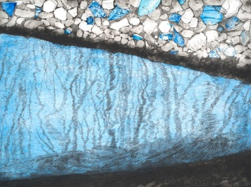 "Darby Creek: Past Presence 3, intaglio, 12"" x 16"", 2014"