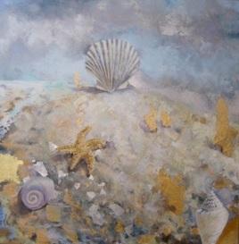 "Destination, oil, metal leaf on panel, 16"" x 16"", 2008"