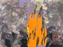 """Disasters: forest fire, print collage, 12"""" x 18"""", 2014"""