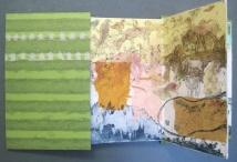 "Fox Lane-Dead End Ahead, intaglio, chine collé, accordion fold, 9"" x 6"", 2009"