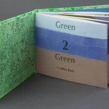 "Green 2 Green, intaglio, linocut, digital, chine collé, accordion fold, 6"" x 9"", 2013"