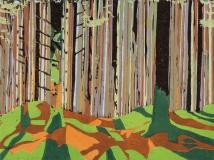 "In Norwegian Woods #2, 2-plate reduction woodcut, 12"" x 16"", 2016"