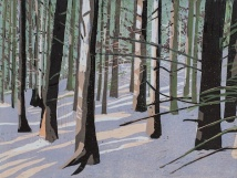 "In Norwegian Woods #5, 2-plate reduction woodcut, 12"" x 16"", 2016"