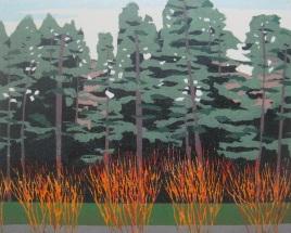 """Linear Landscape #1, reduction woodcut, 8"""" x 10"""", 2016"""