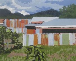 """Linear Landscape #3, reduction woodcut, 8"""" x 10"""", 2016"""