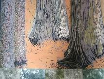 "Old Plantings #2, reduction linocut, intaglio, chine collé,k 28"" x 36"", 2012"
