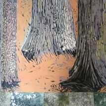 "Old Plantings #2, reduction linocut, intaglio, chine collé, 28"" x 36"", 2013"