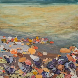 """Shore, oil, print collage on panel, 16"""" x 16"""", 2015"""