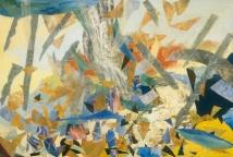 "Storm, print collage, gouache, 30"" x 44"", 2009"