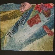 "The Impulse, intaglio collage, single sheet, 3"" x 4"", 2013"