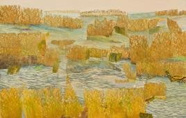 "Wetlands, print collage, gouache, 26"" x 41"", 2008"