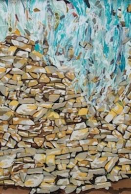 """Barrier Break, print collage, gouache paint, 72"""" x 43"""", 2015"""