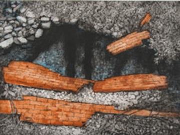 "Darby Creek: Past Presence 4, intaglio, 12"" x 16"", 2014"