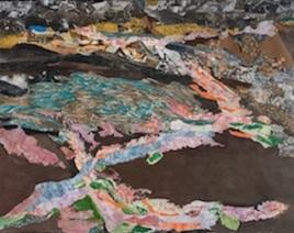 "Fracking Chemical Leak, print collage, goauche paint, 43"" x 54"", 2015"