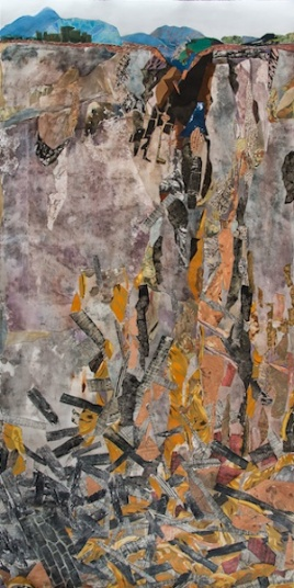 "Mudslide, print collage, gouache paint, 84"" x 43"", 2014"