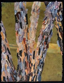 "River Birch, print collage, gouache paint, 30"" x 22"", 2015"