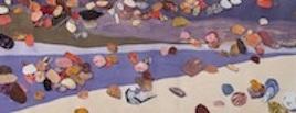 """Shoreline, print collage, gouache paint, 11"""" x 61"""", 2015"""