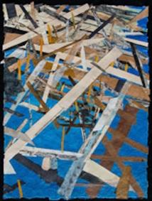 "Tornadoes, hurricanes and tsunamis 1, print collage, gouache paint, 30"" x 22"", 2015"