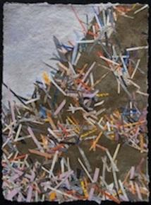 "Tornadoes, hurricanes and tsunamis 2, print collage, gouache paint, 30"" x 22"", 2015"