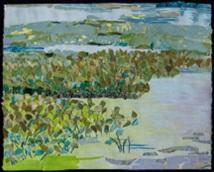 "Wetland Oasis, print collage, gouache paint, 16"" x 20"", 2015"