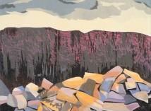 "Fallen Rocks 1, 3-block reduction woodcut, 20"" x 26"", 2017"