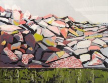 "Fallen Rocks 2, 2-block reduction woodcut, 19"" x 26"", 2017"
