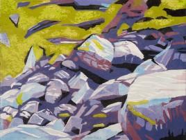 "Fallen Rocks 3, 2-block reduction woodcut, 20"" x 26"", 2017"