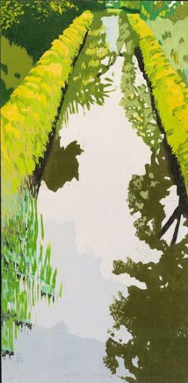 "Still Water, reduction woodcut, 29 1/2"" x 14"", 2017"