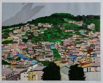 "Andes: Urban Panorama #1, 2-block reduction woodcut, 16"" x 20"", paper 20"" x 24"", 2018"