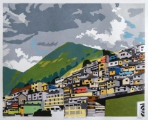 "Andes: Urban Panorama #2, 2-block reduction woodcut, 16"" x 20"", paper 20"" x 24"", 2018"