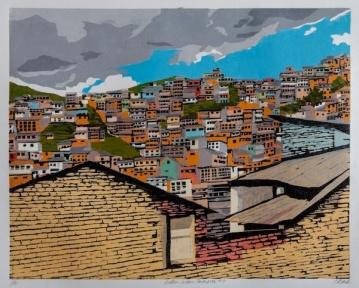 "Andes: Urban Panorama #3, 2-block reduction woodcut, 16"" x 20"", paper 20"" x 24"", 2018"