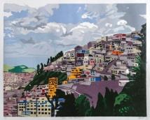 "Andes: Urban Panorama #4, 2-block reduction woodcut, 16"" x 20"", paper 20"" x 24"", 2018"