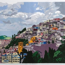 "Andes: Urban Panorama #4, 2-block reduction woodcut, 16"" x 20"", paper 20"" x 24"", 2018"