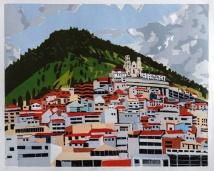 "Andes: Urban Panorama #5, 2-block reduction woodcut, 16"" x 20"", paper 20"" x 24"", 2018"