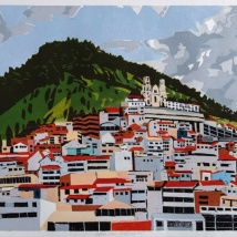 "Andes: Urban Panorama #5, 2-block reduction woodcut, 16"" x 20"", paper 20"" x 24"", 2018"