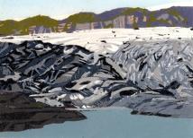"""Glacier Melt #4, reduction woodcut, 5.75 x 8"""", paper 8.5 x 11.5"""", 2018"""