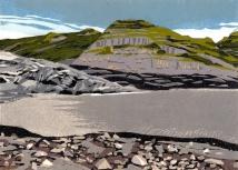 """Glacier Melt #5, reduction woodcut, 5.75 x 8"""", paper 8.5 x 11.5"""", 2018"""