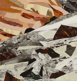 "Glacier Melt #2, print collage, acrylic on canvas, 30"" x 10"", 2018"
