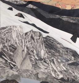 "Glacier Melt #1, print collage, acrylic on canvas, 30"" x 10"", 2018"